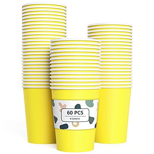 60 Piezas Vasos de Papel Amarillo Tazas de Fiesta Desechables Vasos Carton de Biodegradables y Compostables para Fiestas, Suministros de Cumpleaños, Bricolaje,Café - 250ml