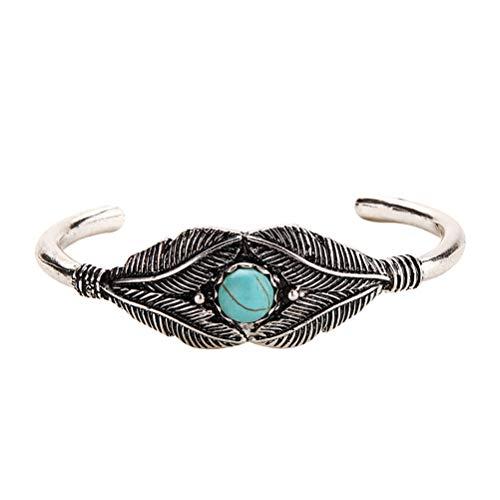 Fenical Vintage Türkise Blätter Armband Runde Perlen Charme öffnen Manschette Armreif Modeschmuck für Frauen (Silber)