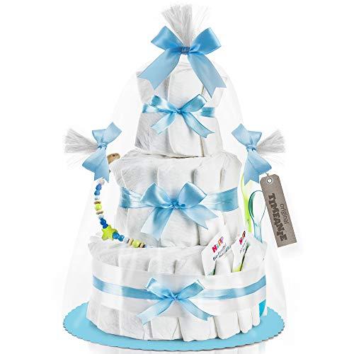 Timfanie® Windeltorte | Nappy Cake | 3-stöckig | baby-blau | Windeln Gr. 2 | ohne Gravur