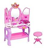 Giocattoli da toeletta per bambini Toilette principessa con specchio cosmetico e asciugacapelli da lavoro Toilette affascinante Tavolo da trucco Set La tua bambina può godere di più divertimento Insie