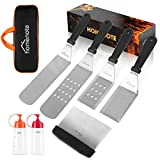 chef accessories for cooking - HOMENOTE Griddle Accessories Kit, 7-Pieces Exclusive Griddle Tools Long/Short Spatulas Set - Commercial Grade Flat Top Grill Cooking Kit - Great for Outdoor BBQ, Teppanyaki and Camping