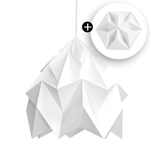 Moth – Lámpara de techo XL y rosetón de papel blanco Ø40 cm – Lámpara colgante de Snowpuppe diseñada por Studio Snowpuppe
