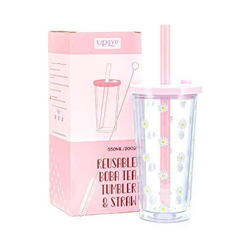 Boba Cup Smoothie Cup reutilizable con tapón de tapa resellable – 550 ml – Taza de té Boba de doble pared aislada Boba vaso de té de leche con amplia pajita reutilizable