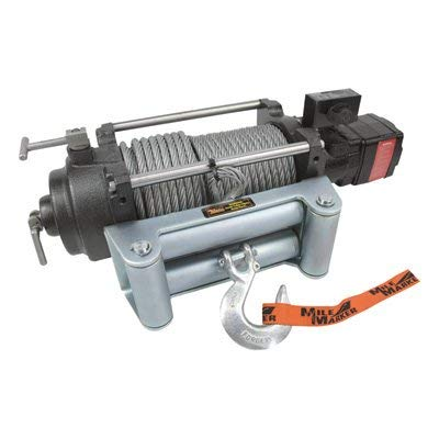 Mile Marker HI-Series Hydraulic 12 Volt DC Powered Electric Truck Winch - 12,000-lb. Capacity, Galvanized Aircraft Cable, Model Number HI12000