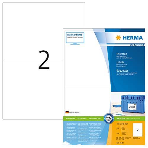 HERMA 4628 Universal Etiketten DIN A4 groß (210 x 148 mm, 200 Blatt, Papier, matt) selbstklebend, bedruckbar, permanent haftende Adressaufkleber, 400 Klebeetiketten, weiß
