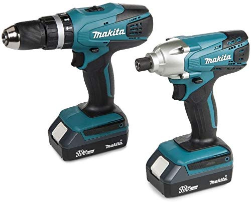 MAKITA 18V Cordless Combi Lithium Drill & Lithium Impact Driver Twin Pack Complete KIT with Heavy Duty Carrying CASE + Free MAKITA Gold Impact Accessories
