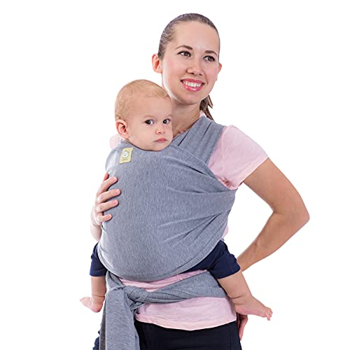 Baby Wrap Carrier - All in 1 Stretchy Baby Sling - Baby Carrier Sling - Baby Carrier Wraps - Baby Carriers for Newborn, Infant - Baby Holder Straps - Baby Slings - Baby Sling Wrap (Classic Gray)