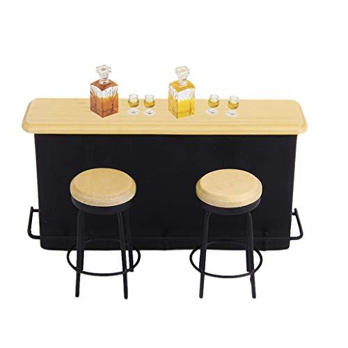 HomeDecTime 1/12 Escala Miniatura Bar Gabinete Escritorio Taburete Whisky Botella de Vino Suministros de Cocina