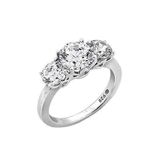 J'ADMIRE 3.0 ct Cubic Zirconia Round 3 Stone Ring, Platinum Clad Sterling Silver (8)