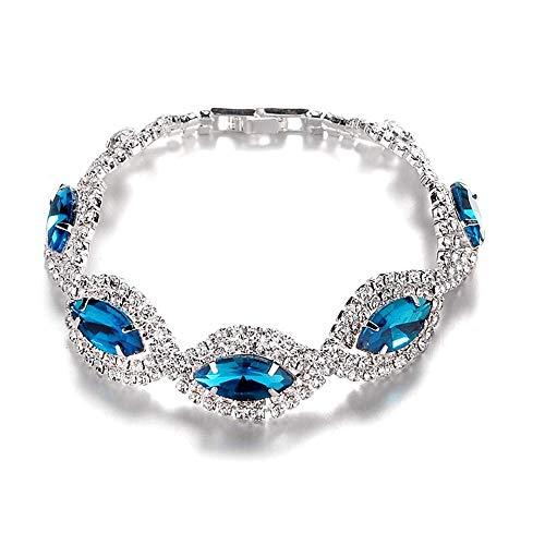 Elegant Diamond Bracelet Crystal Rhinestone Zircon Cubic Exquisite Fashion Minimalism Party Party Bridal Accessories, Couple Bracelet,Colour:Blue (Color : Blue)