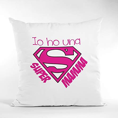 love print Día de la Madre - Cojín cuadrado 40 x 40 con Dedica IO Ho Una Super Mamma