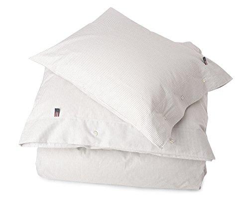 Lexington - Pin Point - Bettwäsche, Bettbezug - Bettdeckenbezug - Farbe: Grau-Weiß - 155x 220 cm - Baumwolle