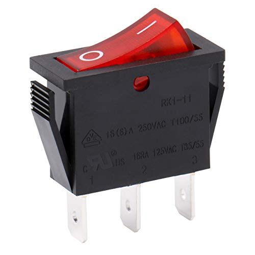 Heschen Interruptor basculante SPST 3 terminales luz roja 16A 250VAC 5Pack