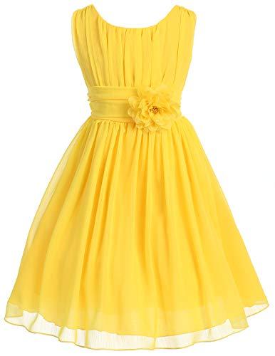 Big Girls' Elegant Yoryu Wrinkled Chiffon Summer Flowers Girls Dresses Yellow 16 G35G34
