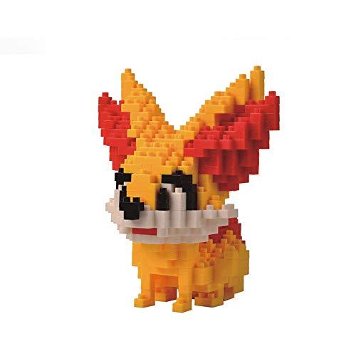 HHtoy Fennekin Animado Elf Mini Modelo 3D Puzzle Edificio del Rompecabezas, Pokemon Modelo 390 Piezas del Bloque Hueco, DIY Modelo Educativo de Dibujos Animados Los niños de Juguete de Regalo