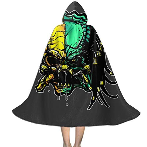 QINWEILU Cranium Alien Vs Predator Unisex Kids Hooded Cloak Cape Halloween Party Decoration Role Cosplay Costumes Outwear Black