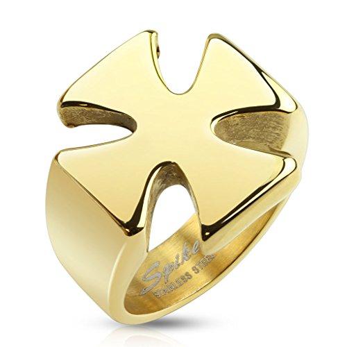 BlackAmazement anillo de acero inoxidable Iron Cross cruz de hierro motociclistas chopper Dorado para Hombre macizo