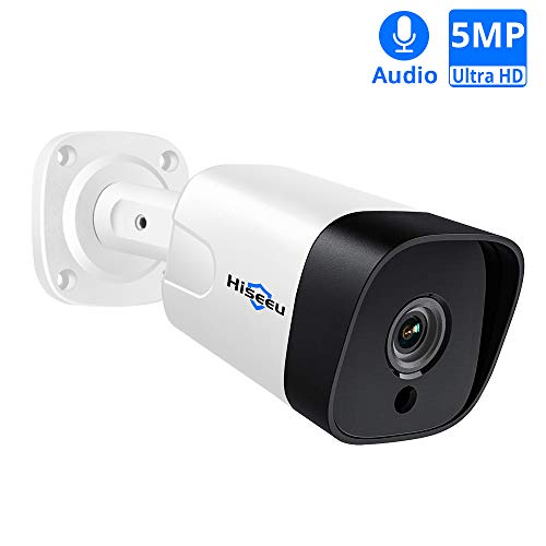 5MP PoE Camera with Audio,Hisee Outdoor/Indoor Security IP Camera(Wired), 18Pcs IR LED Night Vision Surveillance Camera, IP66 Waterproof Motion Detection H.265 ONVIF Protocol