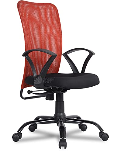 Green Soul Seoul Mid Back Office Study Chair in Breathable Mesh with Multi Color Options (Flirty Orange)