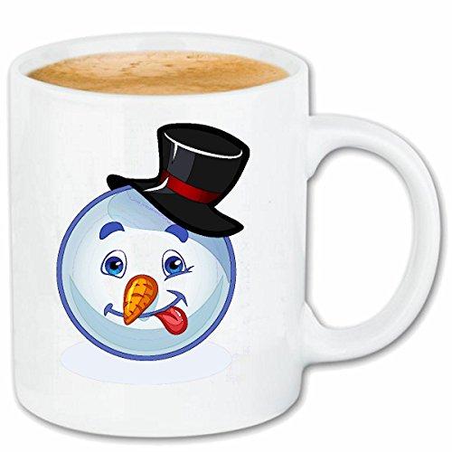 Reifen-Markt Kaffeetasse FRÖHLICHER SCHNEEMANN Smiley STRECKT DIE Zunge Raus Smileys Smilies Android iPhone Emoticons IOS GRINSEGESICHT Emoticon APP Keramik 330 m