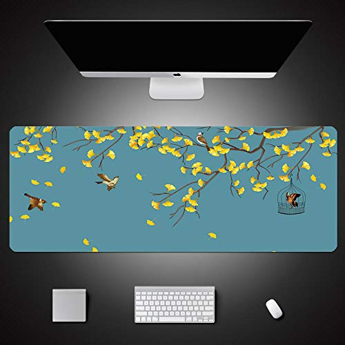 ROZEIP Tapis de Souris Grand de Gaming Extensible XXXL Cage à oiseaux de grande montagne jaune 900x400mm Bord Cousu et base en Caoutchouc Antidérapante, Surface spéciale améliore la Vitesse et la préc
