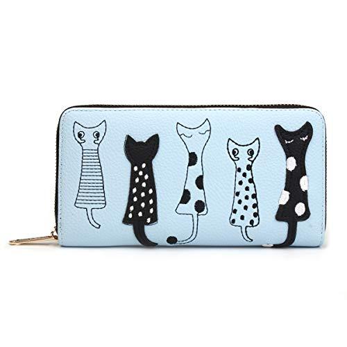 OB OURBAG Geldbörse Damen, Süß Karikatur Katzen Geldbeutel Frauen Portemonnaie mit Vielen Kartenfächern Reißverschluss Elegant Portmonee PU Leder Lang Brieftasche für Mädchen(Blau)