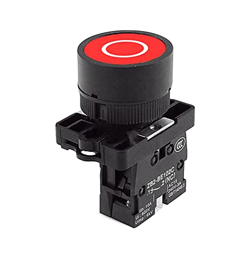 Flyuzi Botón de Inicio de Inicio de botón de reinicio automático de 22 mm con el símbolo de Flecha XB2 táctil Plana 1NC / 1NO Switch Button Series (Color : Red-O)