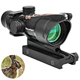 Bestsight ACOG Style 4x32 Riflescopes True Fiber Red Illuminated Crosshair Airsoft Scope (Red Fiber)…