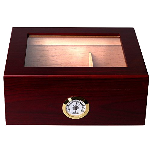 Mantello Royale Glass-Top Cigar Humidor Humidifier Box with Hygrometer - Holds (25-50 Cigars)