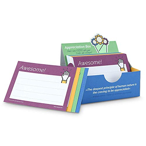 Caja de apreciación - Aumentar la apreciación y la motivación en el equipo con 200 tarjetas de Kudos DIN A8