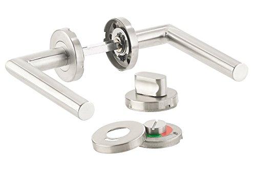 AGT Drückergarnitur WC: Edelstahl-Türbeschlag für Bad & WC, 2 Klinken & Rosetten, rund (WC Türgarnitur)