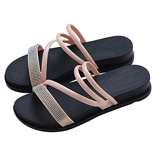 ZZLHHD Fondo Grueso Sandalias Punta Abierta Cuero,Cross Open Toe Sandals, Casual Flat Slippers-Pink_37,B1