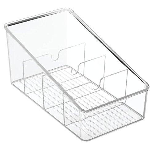 iDesign Küchen Organizer mit 4 Fächern, Aufbewahrungsbox aus BPA-freiem Kunststoff ohne Deckel, vielseitige Ablage für Schreibtisch, Kühlschrank, Make up und Bad, durchsichtig