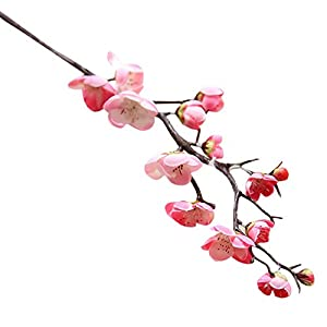 Quaanti Cherry Blossom Flowers Artificial,1pc Artificial Silk Fake Flowers Plum Blossom Floral Wedding Bouquet Party Decor