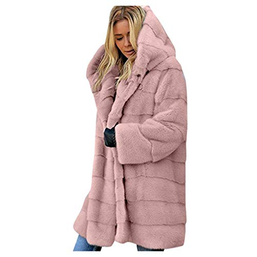 Lulupi Damen Oversize Winter Mantel Faux Fur Kunstfell Jacke Kunstpelz Warm Lange Pelzmantel Felljacke Flauschige Elegant Cardigan Parka Coat mit Kapuze