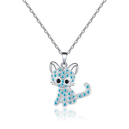VU100 - Collar de Plata con Colgante de Gato para Mujer y niña, joyería con Cristal Azul Brillante para Amantes de los Gatos, Regalo para cumpleaños, Navidad