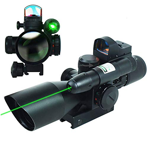 UUQ 2.5-10×40 Tactical Rifle Scope and 4 Reticle Red/Green Dot Reflex Sight