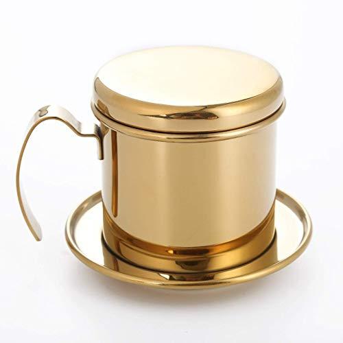 WANZSC Realand Top Edelstahl Vietnam-Kaffeebereiter Filter Einzeltasse Brauer Presse Perkolator Home Outdoor (Gold)