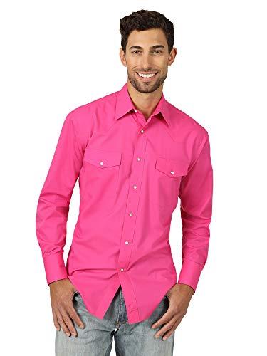 Wrangler Men's Long Sleeve Sport Western Snap Shirt, Pink, X-Large