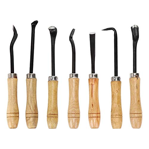 wosume 【𝐒𝐩𝐫𝐢𝐧𝐠 𝐒𝐚𝐥𝐞 𝐆𝐢𝐟𝐭】 Smooth Surface Bonsai Tools, 7Pcs/Set Stainless Steel Comfortable to Hold Bonsai Carving Tool, for Bonsai Production