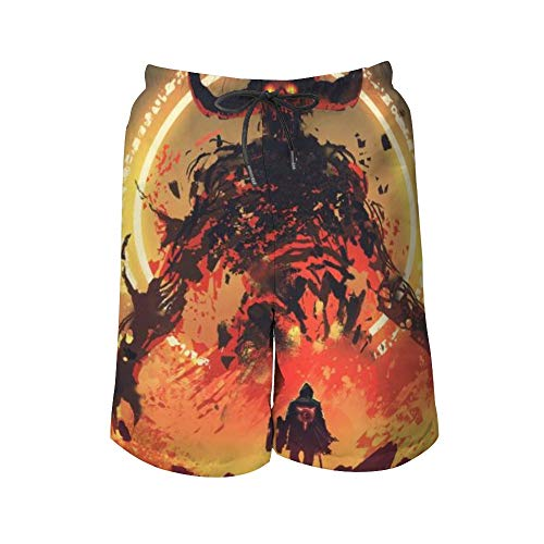 Pantalones de playa para hombre, caballero con una espada, frente al demonio de lava en el infierno, para hombre, bañador de color para playa, incluye 5 tamaños Blanco Color1 M
