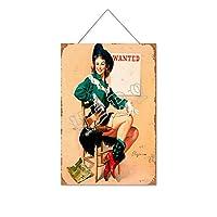 カウボーイセクシービューティー木製のリストプラーク木の看板ぶら下げ木製絵画パーソナライズされた広告ヴィンテージウォールサイン装飾ポスターアートサイン