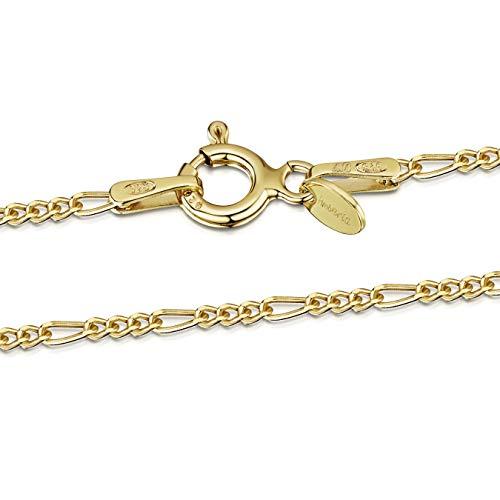 Amberta® Joyería - Collar - Fina Plata De Ley 925-18K Chapado en Oro - Cadena de Fígaro - 1.5 mm - 40 45 50 55 60 cm (60cm)