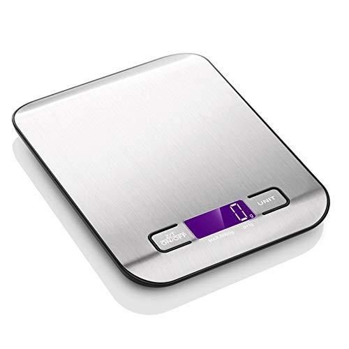 Aspiree Báscula Digital para Cocina de Acero Inoxidable, 5kg / 11 lbs, Balanza de Alimentos Multifuncional, Peso de Cocina