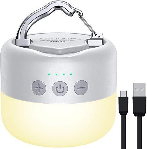 YFW Camping Laterne LED, Campinglampe Aufladbar USB, 3 Helligkeiten Dimmbar, eingebauter starker Magnet mit 5200mAh Power Bank und SOS Notfall Strobe-Funktion für Indoor & Outdoor Situation