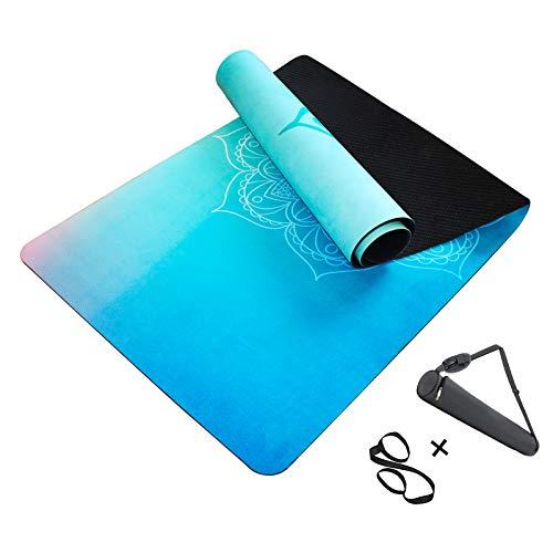 MINCHEDA Colchoneta de Yoga Antideslizante con Bolsa de Esterilla de Yoga, Alfombra para Pilates, Ashtanga, Hatha, 183 * 68 * 0.5 cm