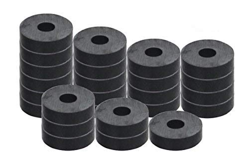 """RAM-PRO 50-Piece Powerful Magnetic Round Ferrite Magnet Discs with ¼"""" Dia. Holes (3/4"""" x 1/4"""") – Universal Use on Frigidaire's, Bulletin Boards & Arts-Crafts Projects, Etc."""