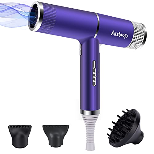 Autoop Secador profesional con difusor, secador de pelo de iones ultraligero y potente, 1300 W, kit con 3 accesorios de peinado y 3 niveles de calor, secado rápido
