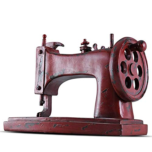 HYBUKDP Black Resin Creative Sculpture Vintage sewing machine model Handmade Statue Home Decor Room Cabinet Crafts Art Ornaments Retro Decorative Sculpture Durable Sculpture Gift (Color : Red)