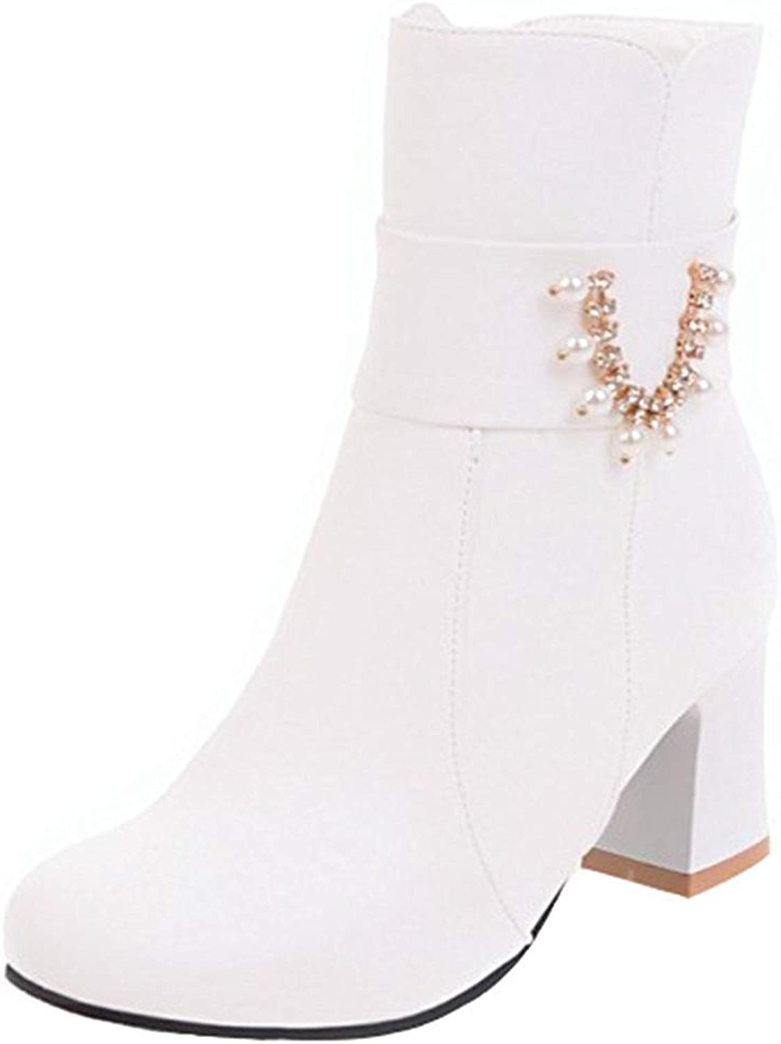 Ghssheh Women's Trendy Rhinestone Belt Block Medium Heel Short Boots Round Toe Side Zipper Ankle Booties White 4 M US